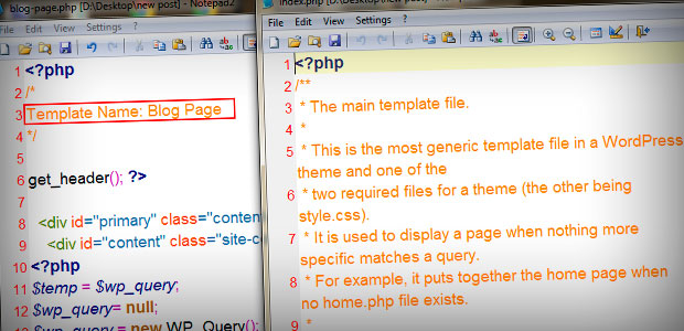 define page template