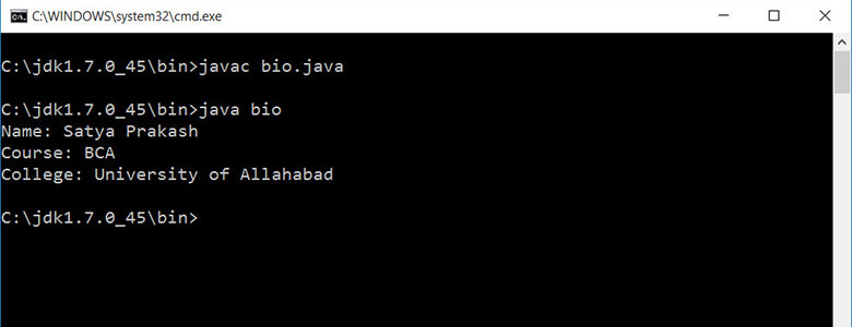 output of biodata program in java